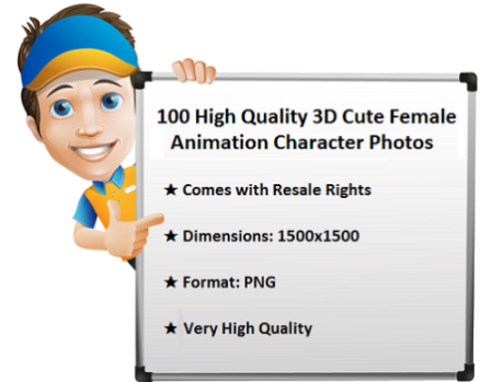 Get 100 3D Cute Female Animation Character Photos with Resale Rights