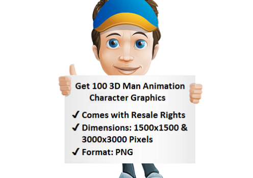 Get 100 3D Man Animation Character Graphics with Resale Rights