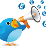 Twitter Bird Shouting for Shares and Likes!