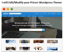 I will modify your WordPress Pricerr theme functions, styling, CSS, HTML, PHP and more